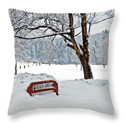 Winter Beach Sign Throw Pillow by Aimee L Maher Photography and Art Visit ALMGallerydotcom
