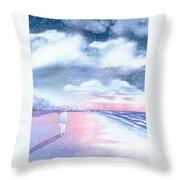 Winter Beach Walk Throw Pillow