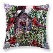 Winter Birdhouse Throw Pillow
