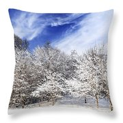 Winter Forest Covered With Snow Throw Pillow