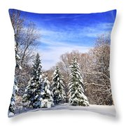 Winter Forest With Snow Throw Pillow