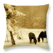 Winter Grazing Throw Pillow