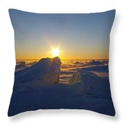 Winter Ice Ridge Churchill River Manitoba Throw Pillow