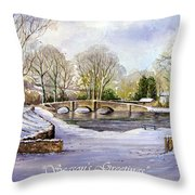 Winter In Ashford Xmas Card Throw Pillow
