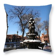Winter In Cathedral Park Santa Fe Throw Pillow