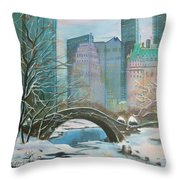 Winter In New York Throw Pillow