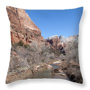 Winter In Zion Throw Pillow