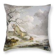 Winter Landscape With Men Snowballing An Old Woman Throw Pillow