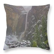 Winter Lower Yosemite Falls Throw Pillow
