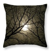 Winter Moon On A Cold Foggy Winter Night Throw Pillow