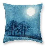 Winter Moon Over Farm Field Throw Pillow