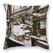 Winter On Deck Throw Pillow