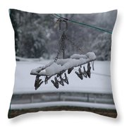 Winter Pegs Throw Pillow