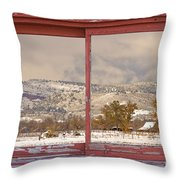 Winter Rocky Mountain Foothills Red Barn Picture Window Frame Ph Throw Pillow