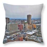 Winter Scene Downtown Buffalo Throw Pillow