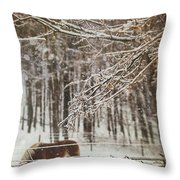 Winter Scene With Horse Grazing In Wooded Pasture Throw Pillow