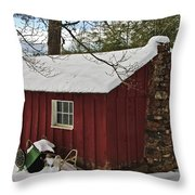 Winter Shed Throw Pillow by Susan Leggett