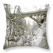 Winter, Shepperds Dell, Columbia River Throw Pillow
