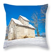 Winter Smoke House Throw Pillow