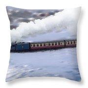 Winter Steam Train Throw Pillow