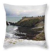 Winter Storm At Dunottar Throw Pillow