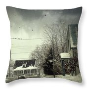 Winter Street Scene With A Car In A Small Town  Throw Pillow by Sandra Cunningham
