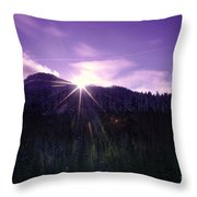 Winter Sun Winking Over The Mountains Throw Pillow