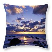 Winter Sunset On Lake Michigan - Fm000053 Throw Pillow