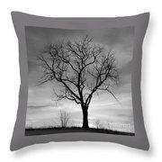 Winter Tree Silhouette Throw Pillow