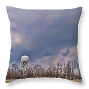 Winter Water Tower Sky Throw Pillow
