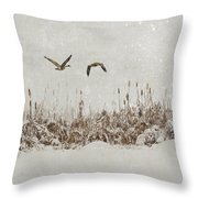 Winter Wings Throw Pillow