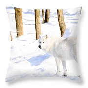 Winter Wolf Throw Pillow