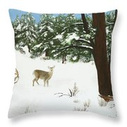 Wintering Whitetails Throw Pillow