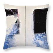 Winters Here - Then Diptych Throw Pillow