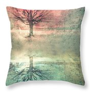 Winter's Reds And Blues Throw Pillow