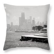 Wintery Chicago Throw Pillow
