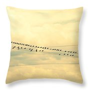 Wires With Many Birds On Them Throw Pillow