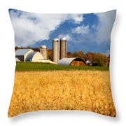 Wisconsin Farm In Fall Throw Pillow