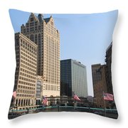 Wisconsin River Brige With Flags Throw Pillow