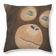 Wistful Chimpanzee Throw Pillow