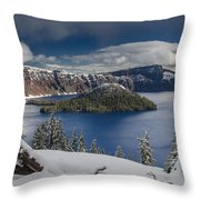 Wizard Island After Summer Snowfall Throw Pillow
