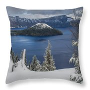 Wizard Island Through Trees Throw Pillow