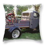 Wizzer Cycle At The Hot Rod Show Throw Pillow