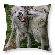 Wolf Confab Throw Pillow