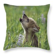 Wolf Puppy Howling In Mountain Meadow Throw Pillow