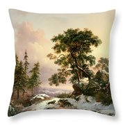 Wolves In A Winter Landscape Throw Pillow