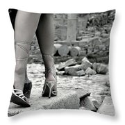 Woman Among Remains Of An Ancient Temple Throw Pillow