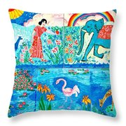 Woman And Blue Elephant Beside The Lake Throw Pillow