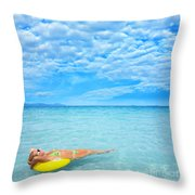 Woman And Ocean Throw Pillow