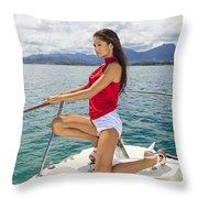 Woman At Kaneohe Bay Throw Pillow